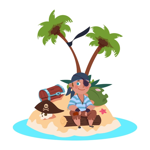 Boy pirate sits on treasure island - cartoon character vector illustration Premium Vector