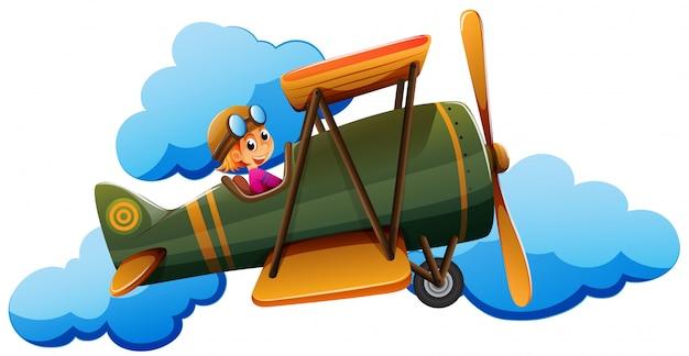 Un ragazzo su un aereo Vettore gratuito