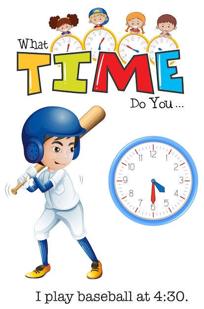 A boy play baseball at 4:30 Free Vector