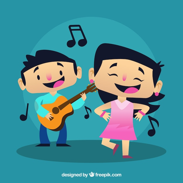 Boy playing a guitar and girl dancing a\ song