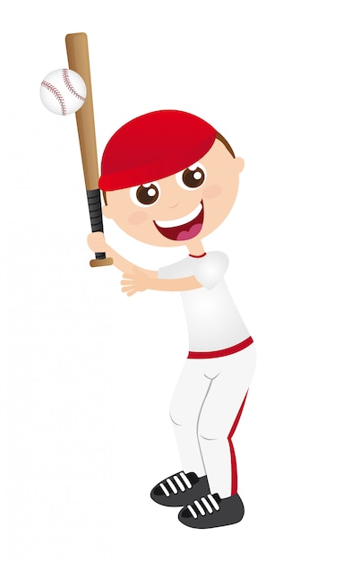Boy playing baseball isolated over white background vector illustration Premium Vector