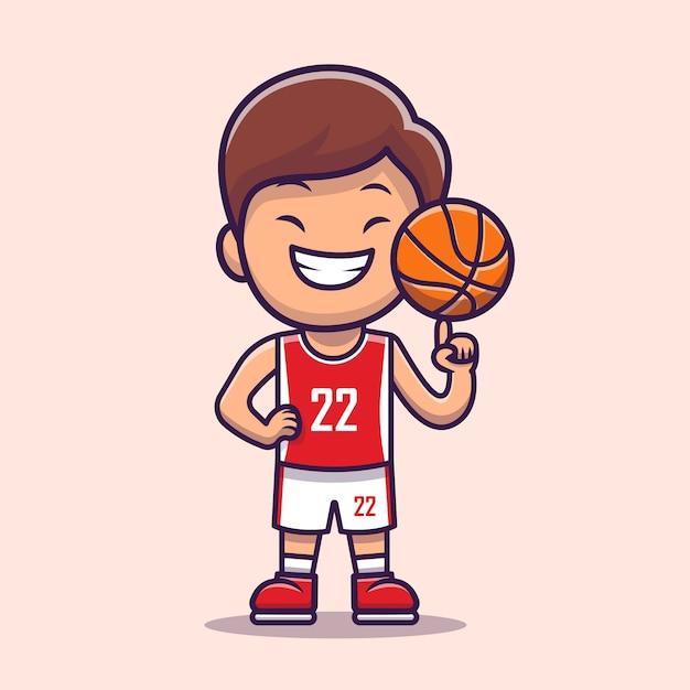 Мальчик играет в баскетбол мультфильм. люди спорта значок концепции изолированы. плоский мультяшном стиле Бесплатные векторы