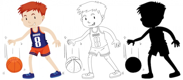 Boy playing basketball in color and outline and silhouette Free Vector