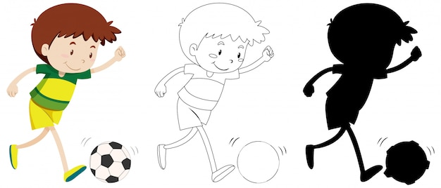 Boy playing football in colour and outline and silhouette Free Vector