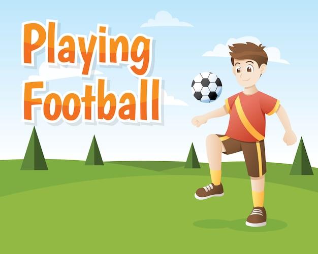 Мальчик играет в футбол на открытом воздухе. Premium векторы