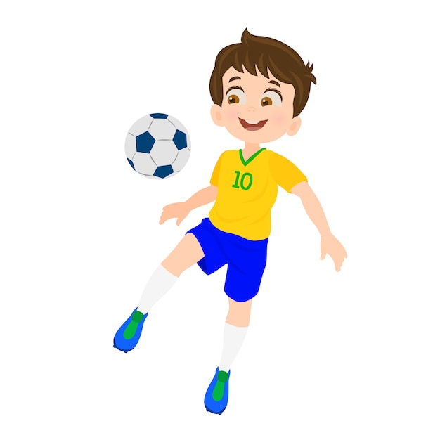 Boy playing football Premium Vector