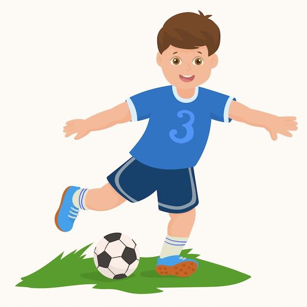 Boy playing football Premium Vector