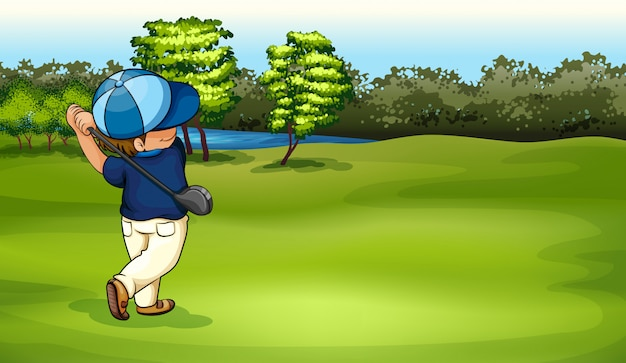A boy playing golf Free Vector