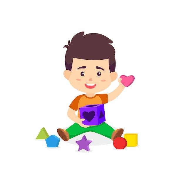 Boy playing puzzle box vector cartoon Premium Vector