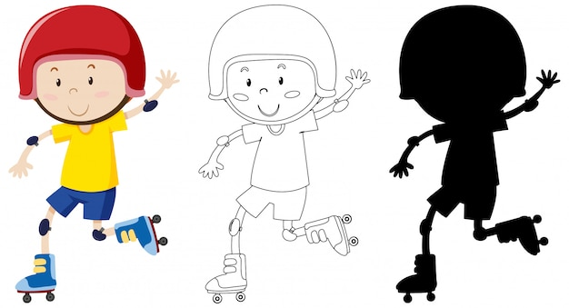 Boy playing roller skate in colour and outline and silhouette Free Vector