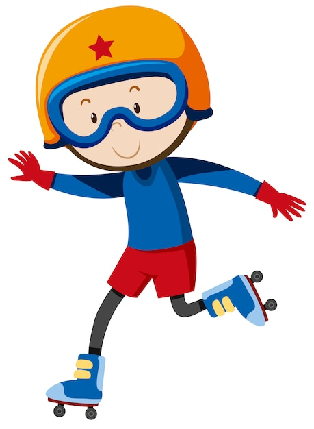 A boy playing rollerblades Free Vector