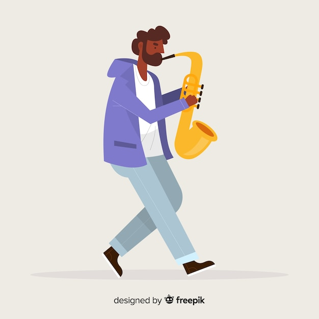 Boy playing the saxo background Free Vector