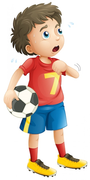 Boy playing soccer football looking tired Free Vector