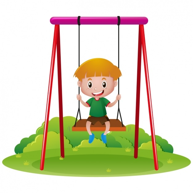 Boy playing in a swing Free Vector