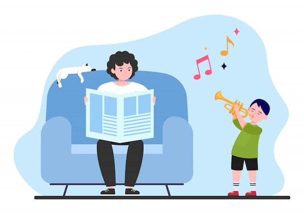 Ragazzo che suona la tromba a casa Vettore gratuito