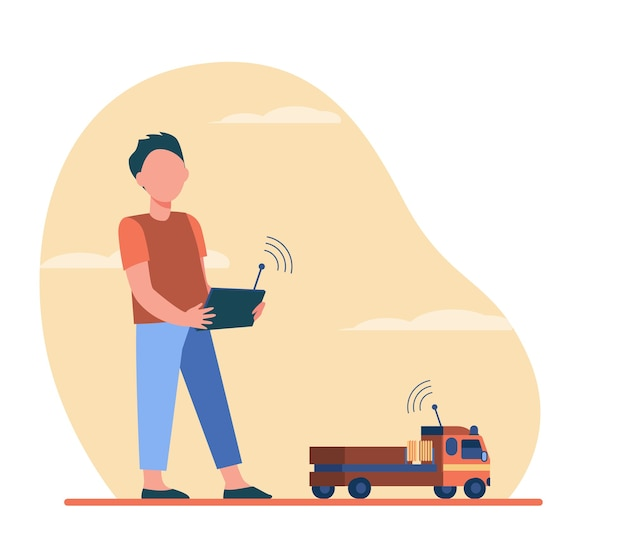 Boy playing with radio controlled toy. truck, car, remote control flat illustration. Free Vector