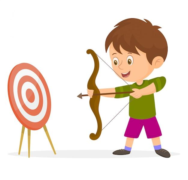 Boy pointing an arrow at a target Premium Vector
