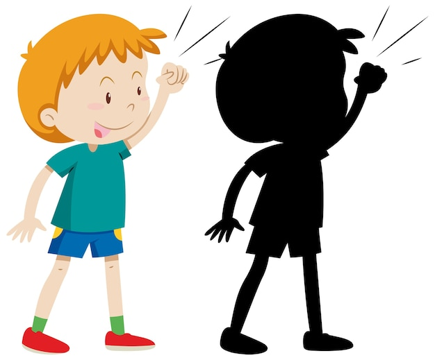 Boy posing fighting with its silhouette Free Vector
