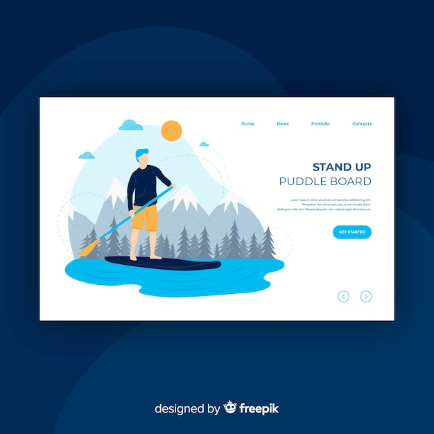 Boy practicing paddle board landing page Free Vector