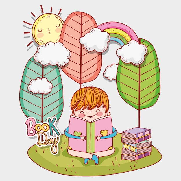 Boy read literature books with trees and sun Premium Vector