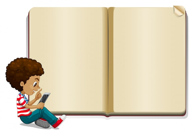 Boy reading book and blank book template Free Vector
