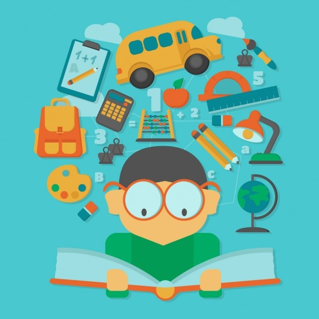 Boy reading a book with floating school elements Free Vector