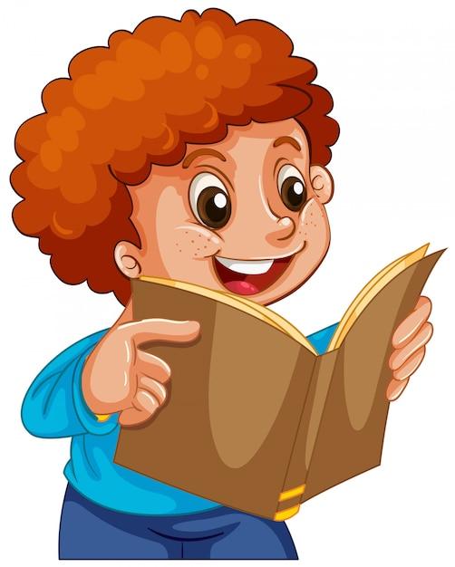 Boy reading a book Free Vector