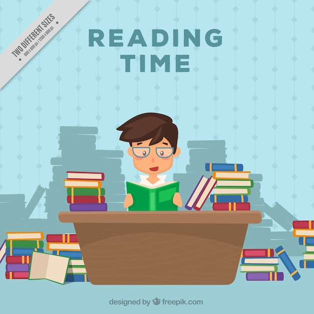Boy reading books on the desk background Vector | Free ...