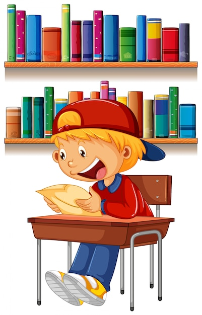 A boy reading on table Free Vector