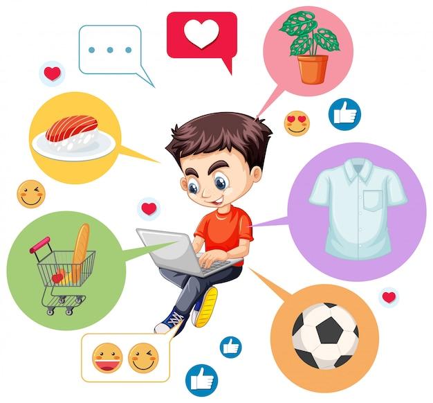 Ragazzo in camicia rossa che cerca sul computer portatile con l'icona che cerca il personaggio dei cartoni animati isolato su fondo bianco Vettore gratuito