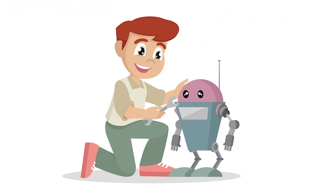 Boy repairing toy robot. Premium Vector