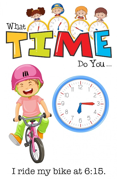 A boy riding bicycle at 6:15 Free Vector