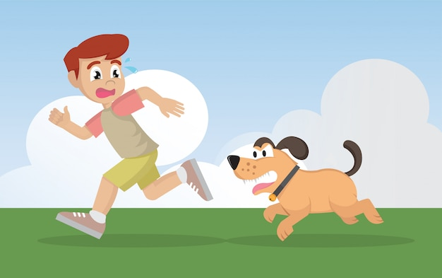 Boy running away from angry dog. Premium Vector