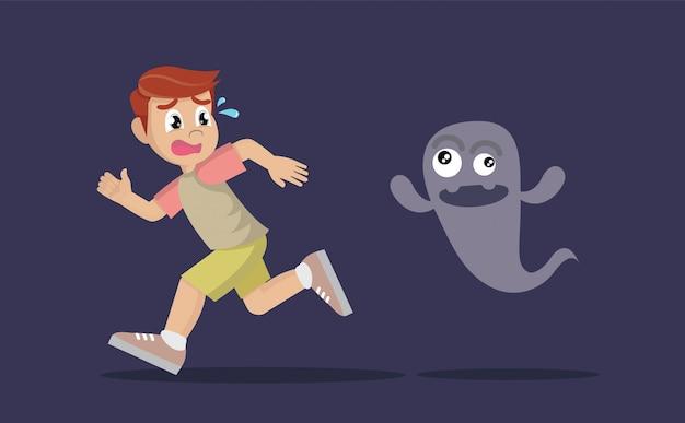 幽霊から逃げる少年。 Premiumベクター