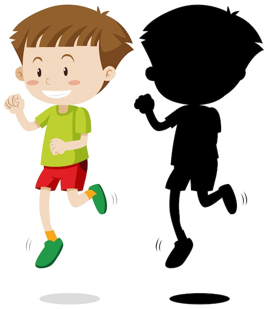 Boy running in colour and silhouette Premium Vector