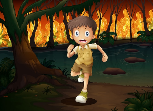 A boy running from wildfire Premium Vector