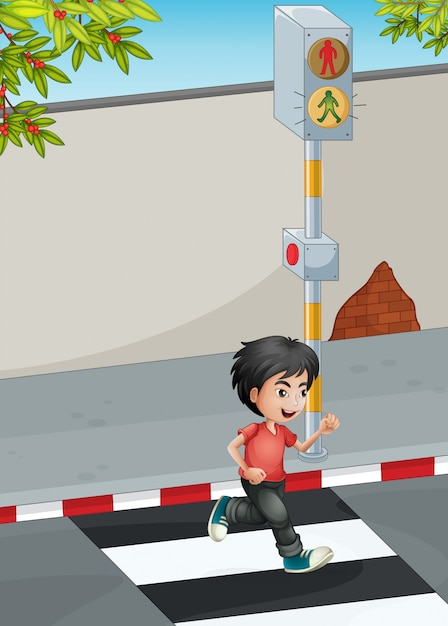 A boy running while crossing the street Free Vector