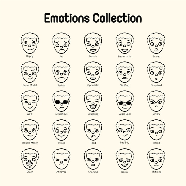 Boy\'s face emotions collection