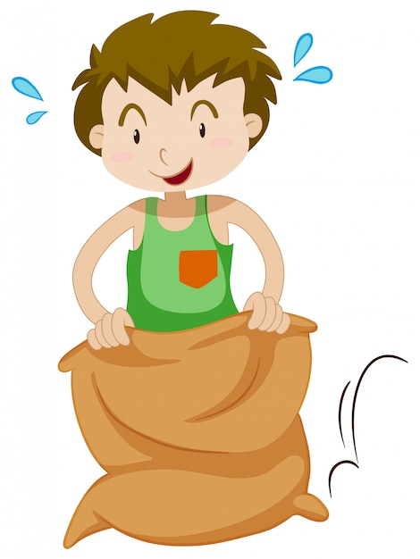 Boy in the sack jumping Free Vector