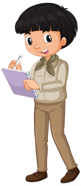 Boy in safari uniform writing notes isolated Free Vector