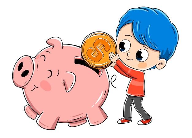 Boy saving money in piggy bank Premium Vector