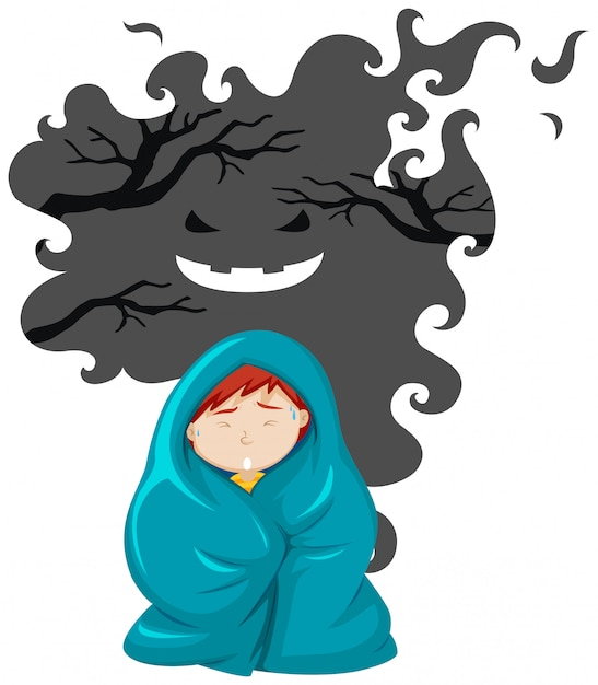 A boy scare of ghost Free Vector