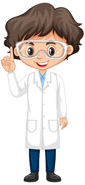 Boy in science gown on white Free Vector
