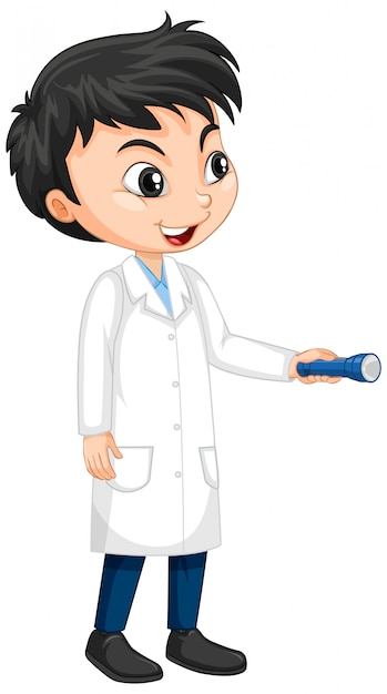 Boy in science gown Free Vector