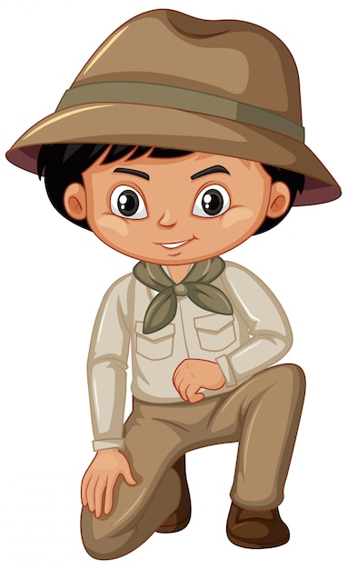 Boy in scout uniform on white Free Vector