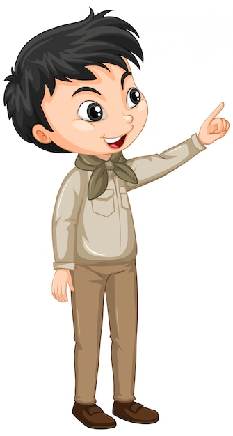Boy in scout uniform Free Vector