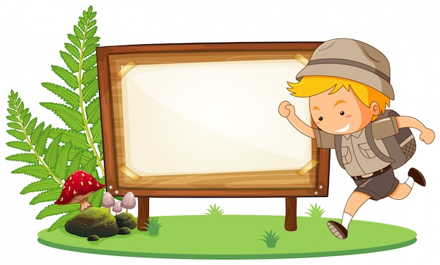 Boy scout and wooden sign with copyspace Free Vector