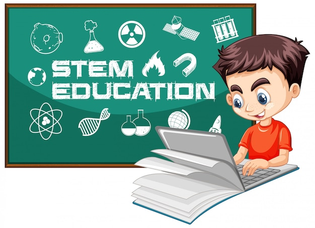 Boy searching on laptop with stem education logo cartoon style isolated on white background Free Vector