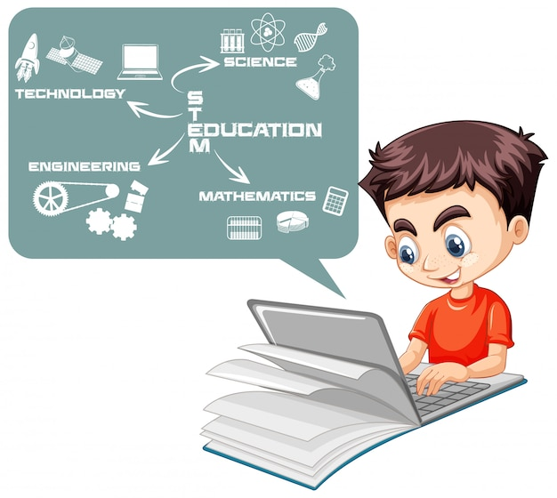 Boy searching on laptop with stem education map cartoon style isolated on white background Free Vector