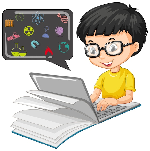 白で隔離教育アイコン漫画スタイルのラップトップ上で検索の少年 無料ベクター